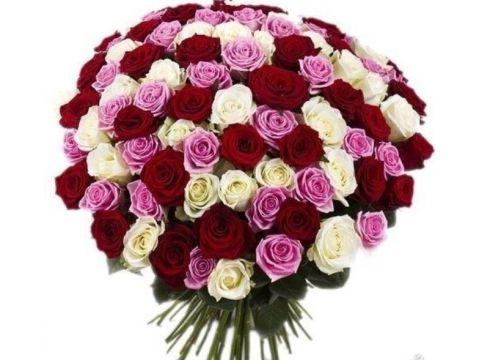 """101 Роза из нескольких цветов, """"Mix 4"""""""