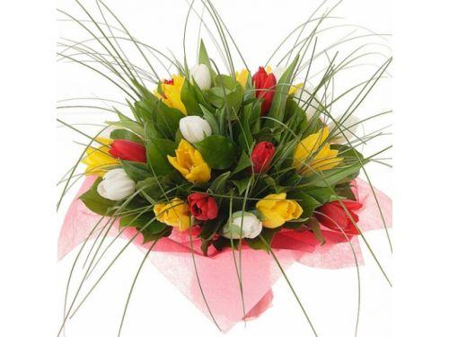 25 тюльпанов, зелень, упаковка
