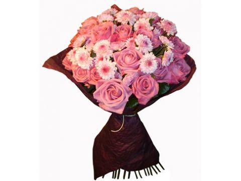 20 роз, 15 хризантем