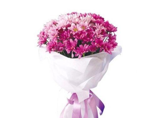 Букет 10 хризантем, 9 роз
