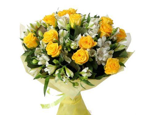 Букет 20 роз , 20 альстромерий, упаковка сезаль