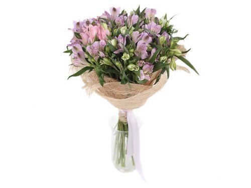 Букет из 9 кустовых роз, 10 альстромерий, зелень