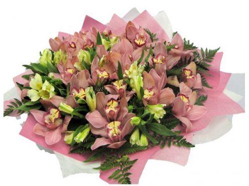 Букет 10 альстромерий, 15 орхидей