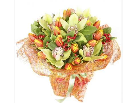 Букет 5 орхидей, 25 тюльпанов