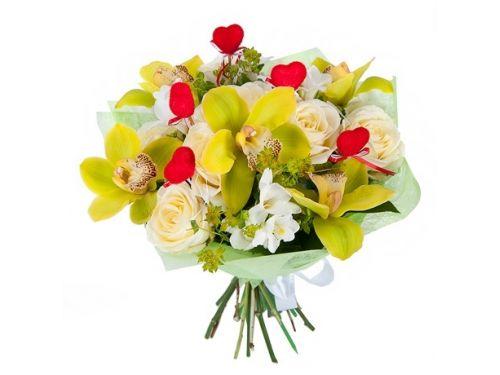 5 орхидей, 5 роз
