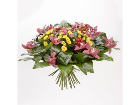 9 орхидей, зелень, хризантемы