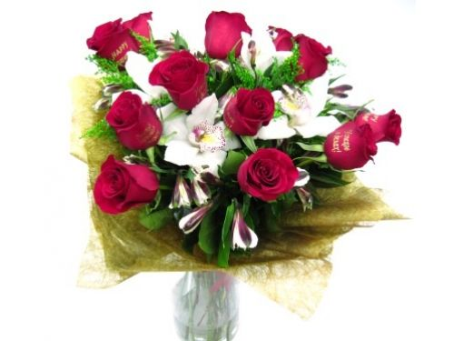 9 роз с надписями, 5 орхидей, альстромерии