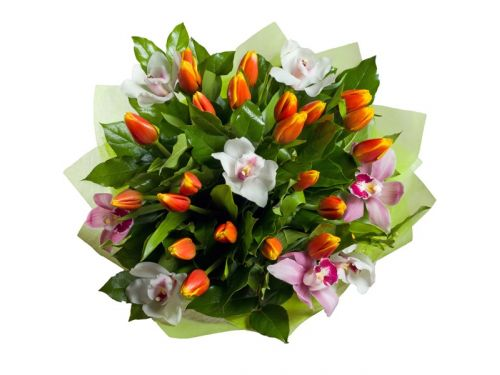 Букет 5 тюльпанов, 7 орхидей