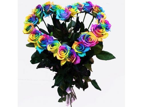 Радужное сердце 19 роз