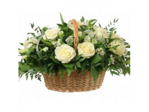 Корзина 21 белая роза
