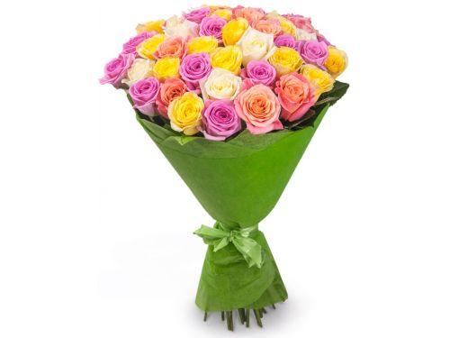 """51 Роза из нескольких цветов, """"Mix"""""""