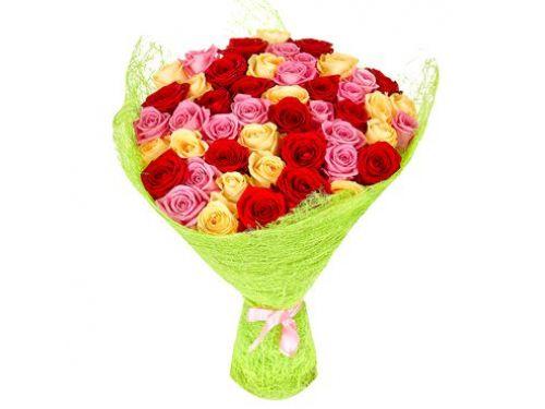 """51 Роза из нескольких цветов, """"Mix 1"""""""