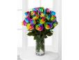 39 радужных роз