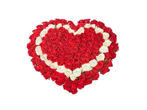 Двойное Сердце из 101 розы