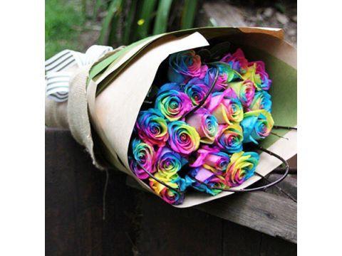 25 Голландских Радужных роз. Длина 70 см