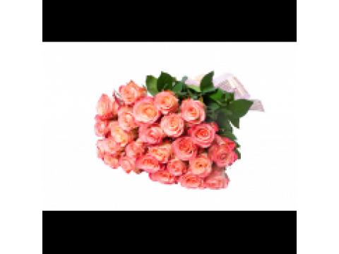 29 персиковых и желтых роз